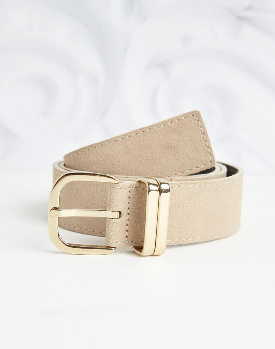 Rime velvet-effect wide beige leather belt (2) - 1-2-3