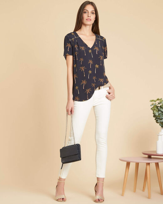 Gagnant black palm printed top with tie at the back (1) - 1-2-3