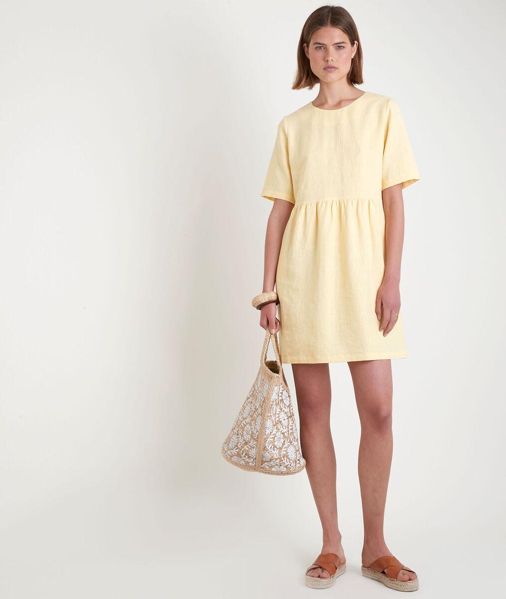 Robe courte en lin certifié jaune Latoya PhotoZ | 1-2-3