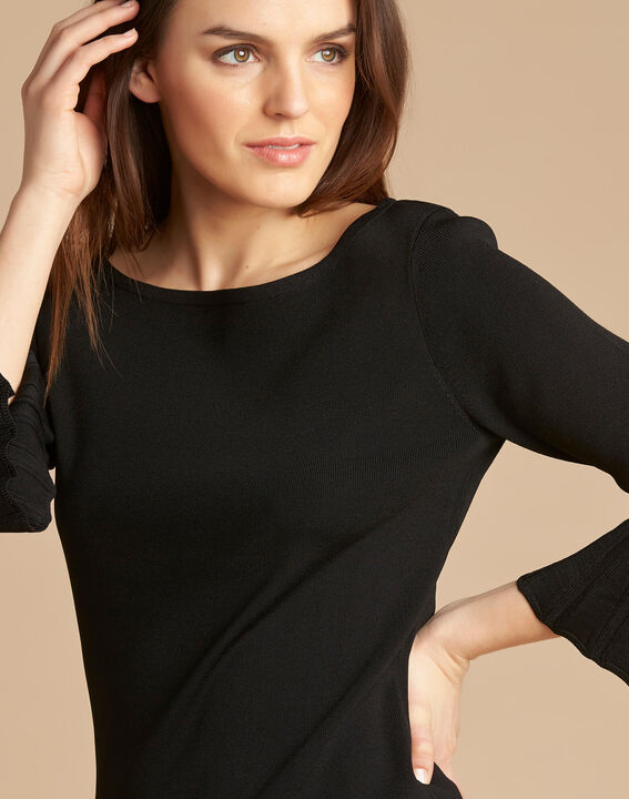 Nina black sweater with pagoda sleeves PhotoZ | 1-2-3