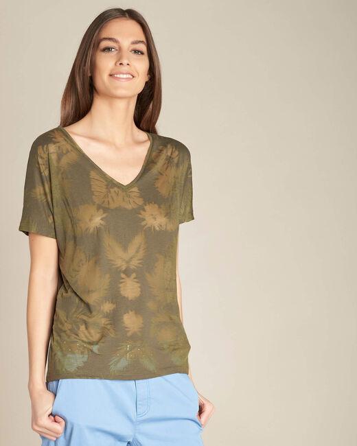 Khakifarbenes T-Shirt mit Palmenprint Eflore (2) - 1-2-3