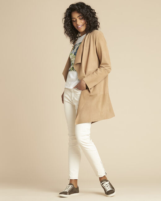 Gaston faux-suede 3/4 length beige waterfall jacket (2) - 1-2-3