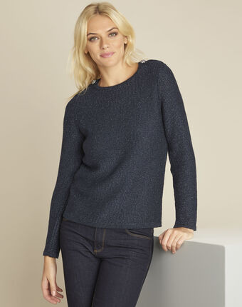 Baya navy lurex pullover with buttons on the shoulders royal blue.