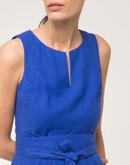 Robe ceinturée bleu roi en lin Okapi (5) - 1-2-3
