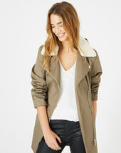 Jenna khaki long parka leaf.