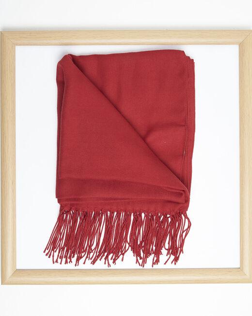 Foulard rouge à franges en viscose Fossette (1) - 1-2-3