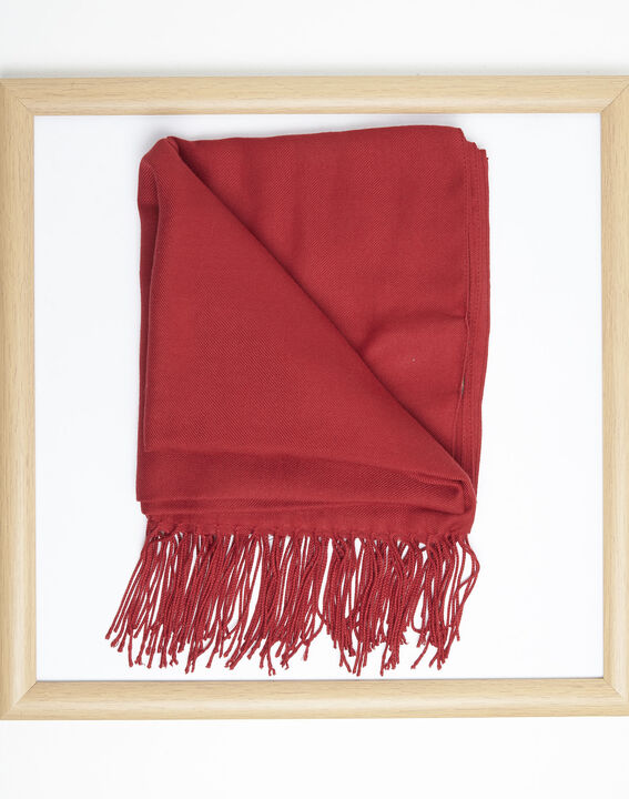 Fossette red viscose fringed scarf  (2) - 1-2-3