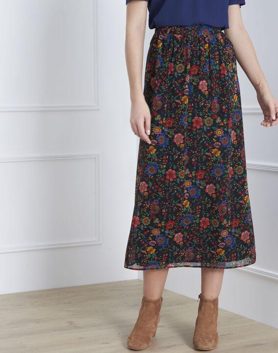 Jupe noire imprimé fleuri longue Samba (1) - Maison 123