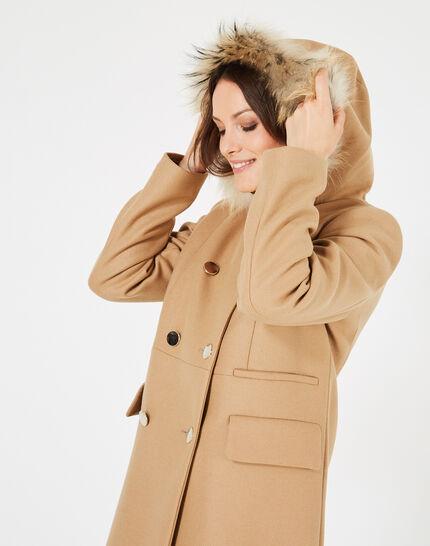 Camel wool 3/4 length coat (3) - 1-2-3