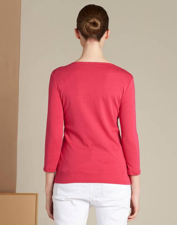 Basic fuchsia T-shirt with rounded neckline and eyelets (4) - 1-2-3