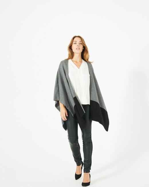 Polly black and marl grey woolen cape (2) - 1-2-3