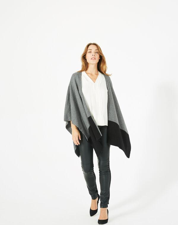Cape noire et gris chiné en laine polly à