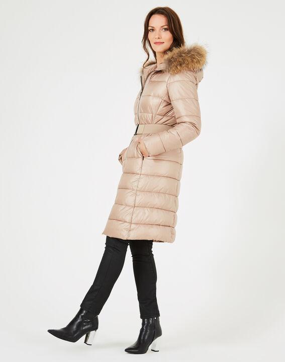 Louna long beige puffer jacket with faux fur PhotoZ | 1-2-3