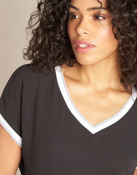Schwarzes T-Shirt mit silbernem V-Ausschnitt Gauttier PhotoZ | 1-2-3