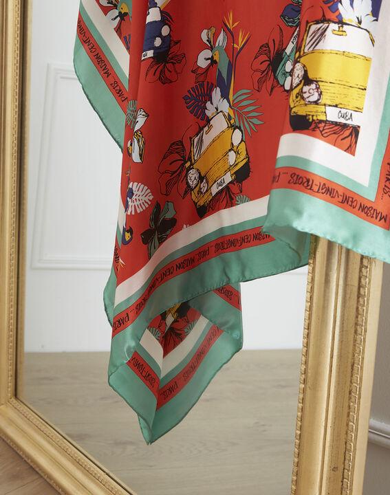 Carré de soie rouge imprimé Cuba Olenka PhotoZ | 1-2-3