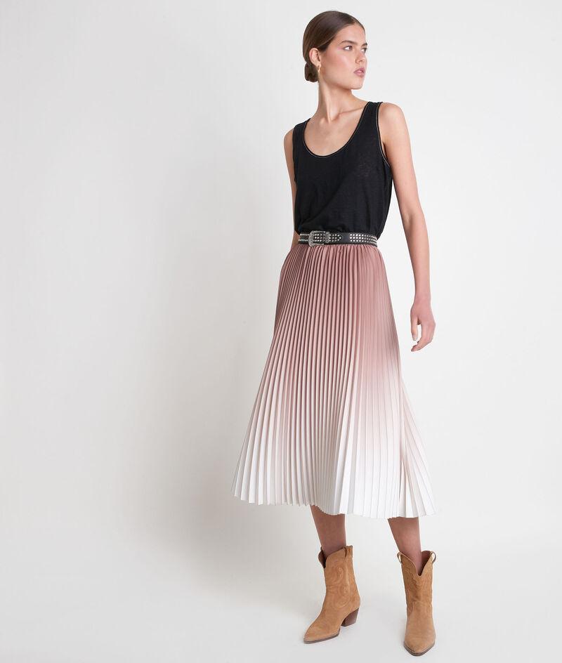 Jupe mi-longue plissée en dégradé de rose Elara PhotoZ | 1-2-3