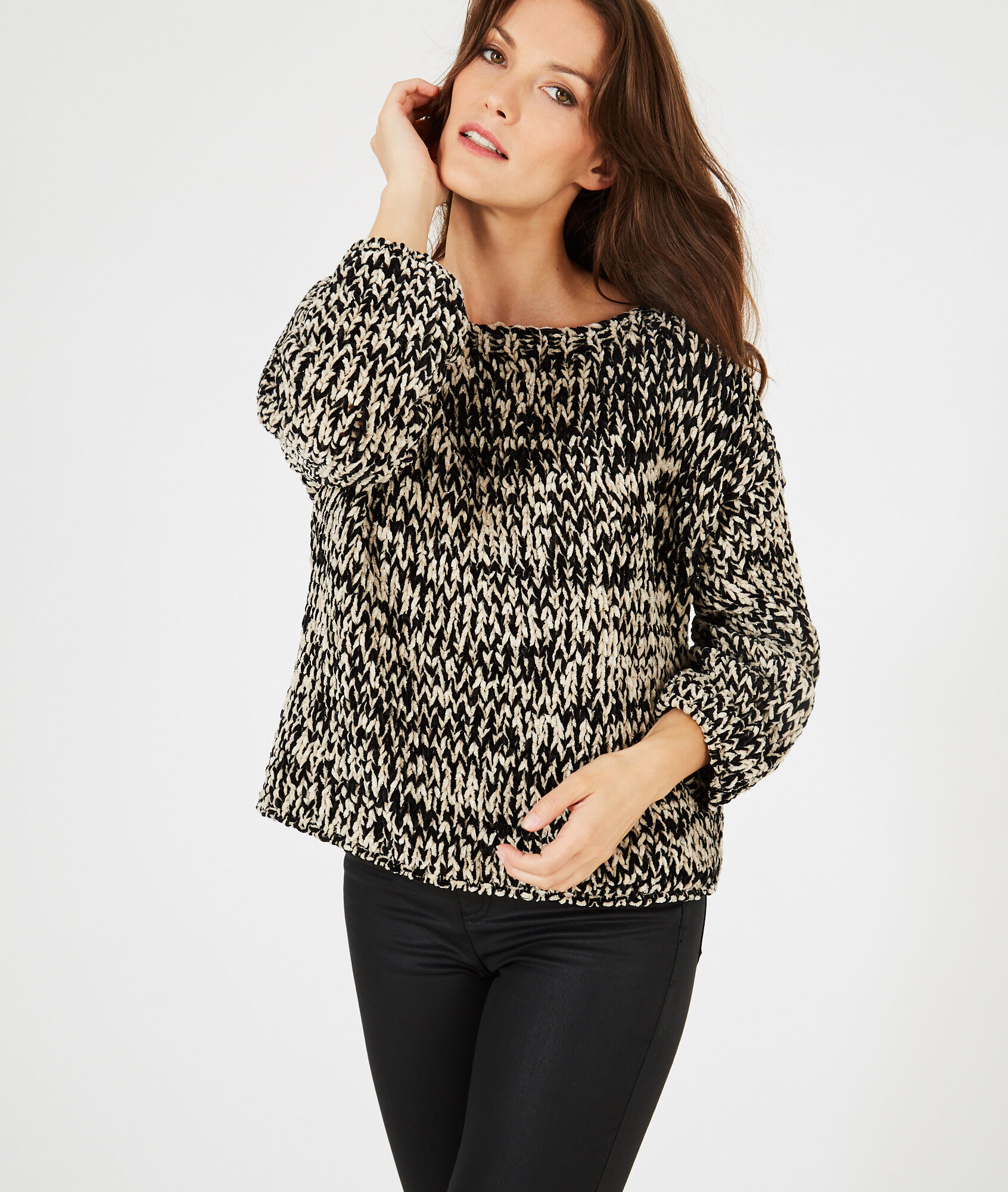 Bico black and white chunky-knit sweater - 123