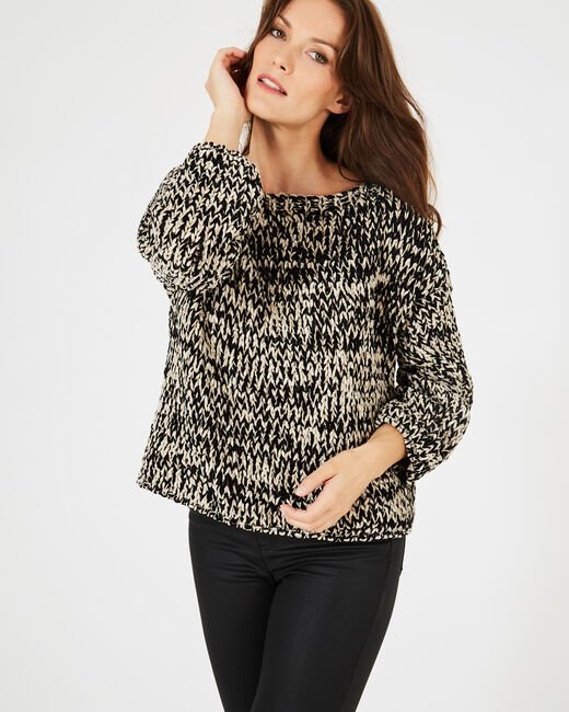 Bico black and white chunky-knit sweater (2) - 1-2-3
