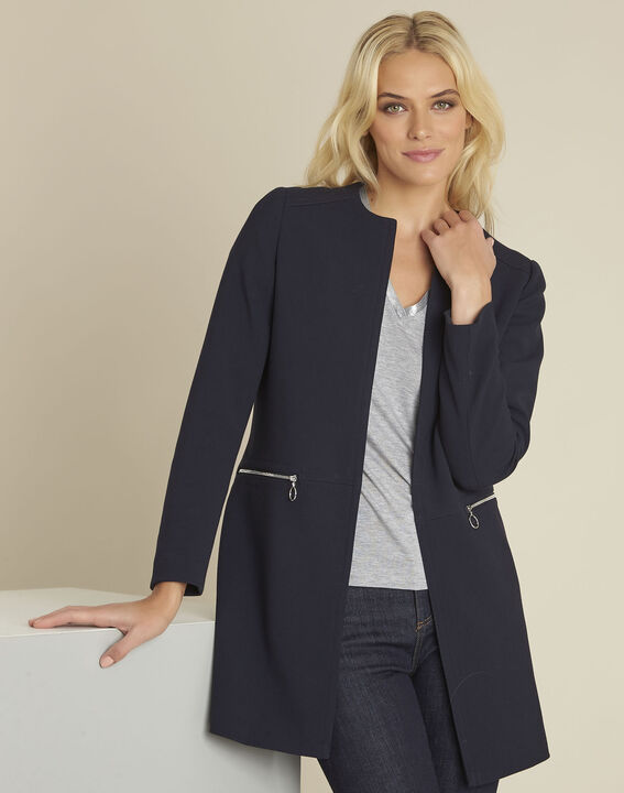 Kaya navy straight zipped coat (1) - Maison 123
