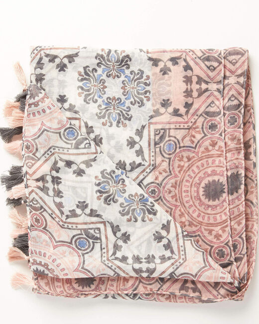 Anais graphic print scarf in pale pink (1) - 1-2-3