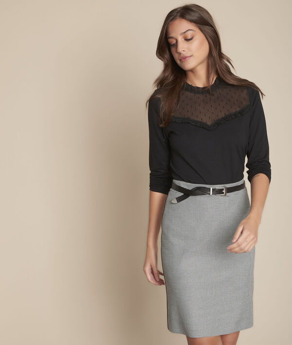 Tee-shirt noir encolure plumetis calista PhotoZ   1-2-3