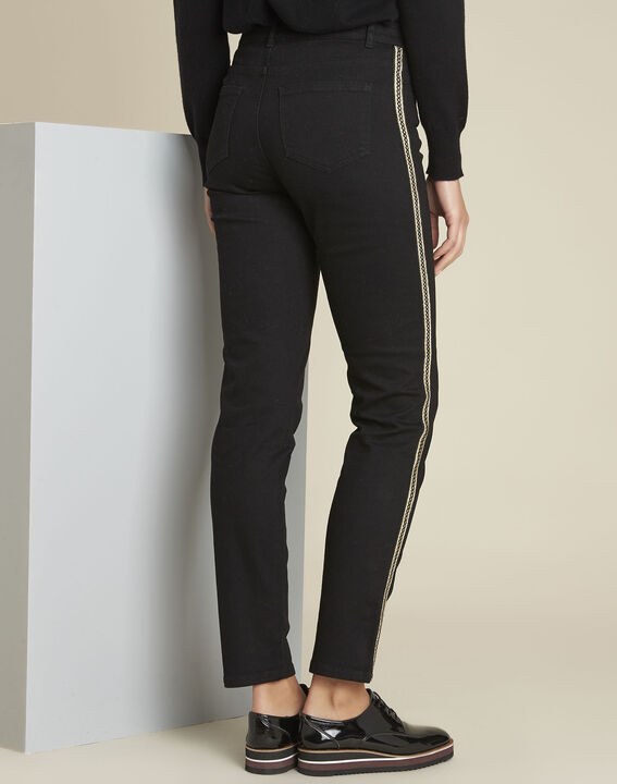 Maddie black slim-cut 7/8 jeans with sidebands (4) - 1-2-3