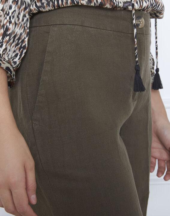 Pantalon kaki large en lin Gobi (3) - Maison 123